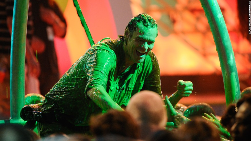 Carrey gets slimed during Nickelodeon's 24th Annual Kids' Choice Awards at Galen Center in 2011.