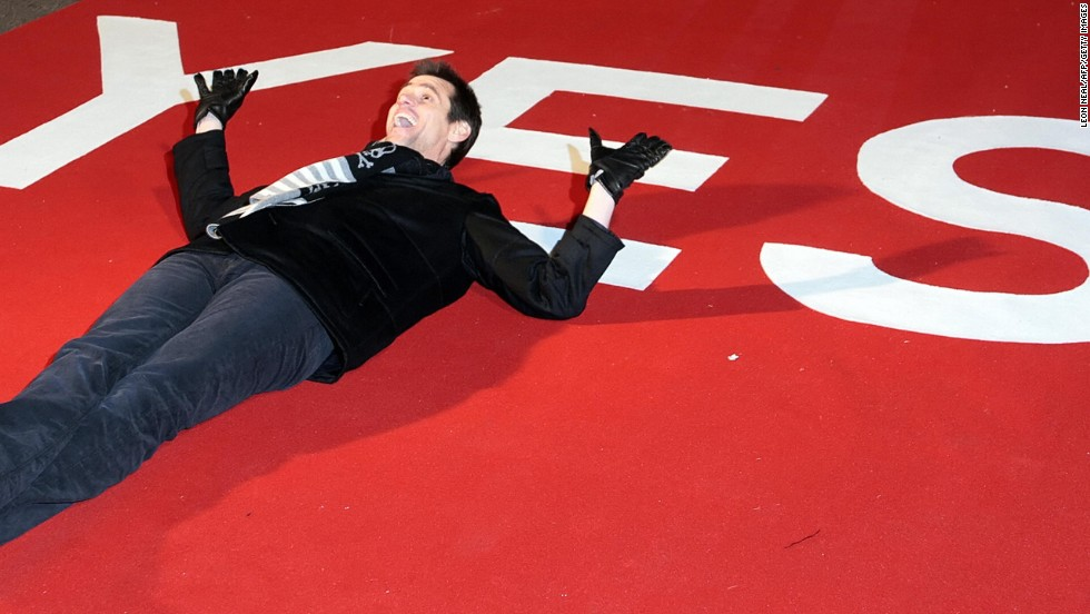 "Carrey lays on the red carpet at the world premiere of his movie ""Yes Man"" at the Vue Cinema in Leicester Square, London, in 2008."