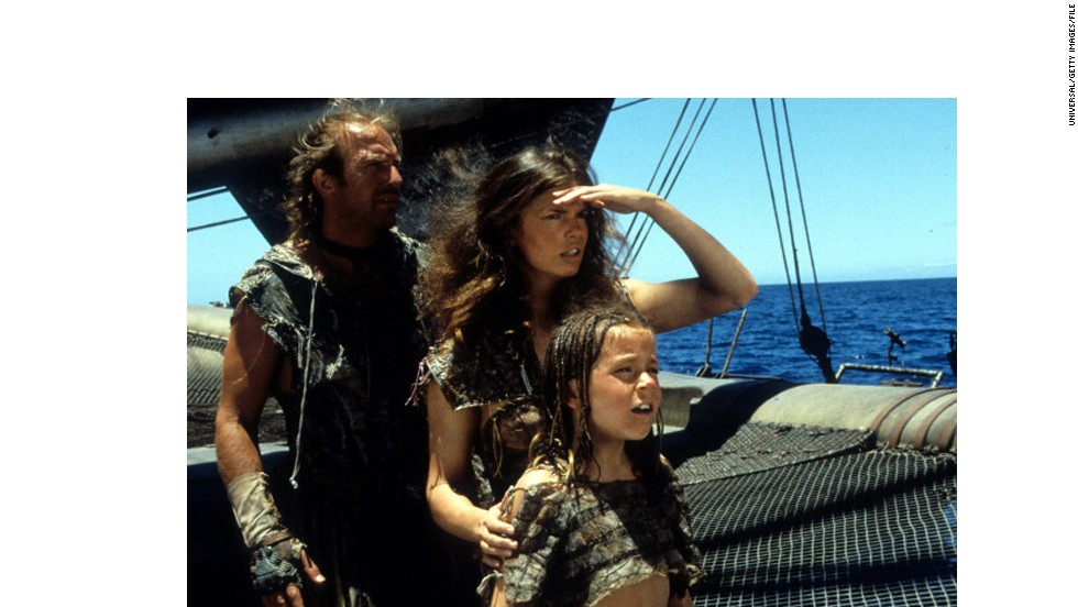 "<strong>""Waterworld"" (1995):</strong> Kevin Costner got a lot of flak for this film, in its day the most costly of all time. Nicknamed ""Kevin's Gate,"" the film got more attention for its budget than its action -- which, finally, wasn't bad. It even did decently at the box office. But try telling that to people now. Jeanne Tripplehorn, center, and Tina Majorino co-starred with Costner."