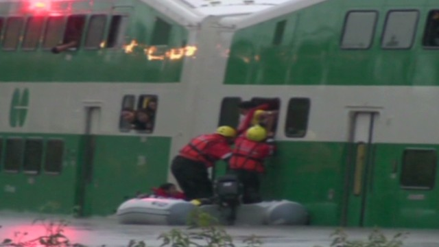Flooding leaves commuter train stranded