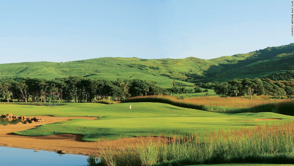 The Heritage Golf Club course measures more than 7,000 yards, par 72 from the back tees. Majestic views of the Indian Ocean are available from various holes, which rise up into the foothills of Bel Ombre in the south of the island.