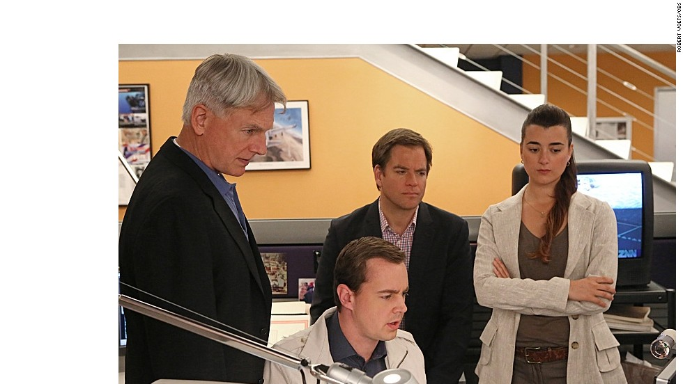 "Mark Harmon, Sean Murray, Michael Weatherly and Cote de Pablo appear in an episode of CBS' ""NCIS."" According to Nielsen data, the show is tops for the 2012 to 2013 broadcast TV season, with a ranking of 14.2 among households."