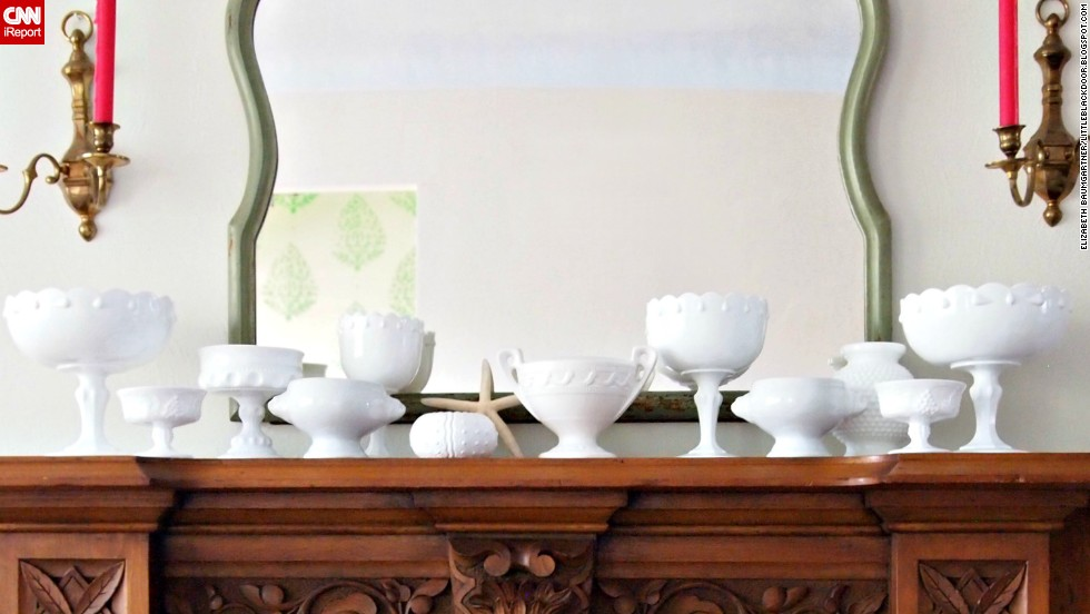 "<a href=""http://ireport.cnn.com/docs/DOC-1001799"">Elizabeth Baumgartner</a> of St. Louis doesn't have a fireplace, but she does have a mantel, which houses a light and airy milk glass collection."