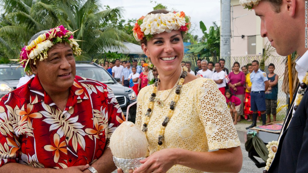 In September 2012, the couple drank coconut milk from a tree that Queen Elizabeth II planted decades ago in the South Pacific nation of Tuvalu.
