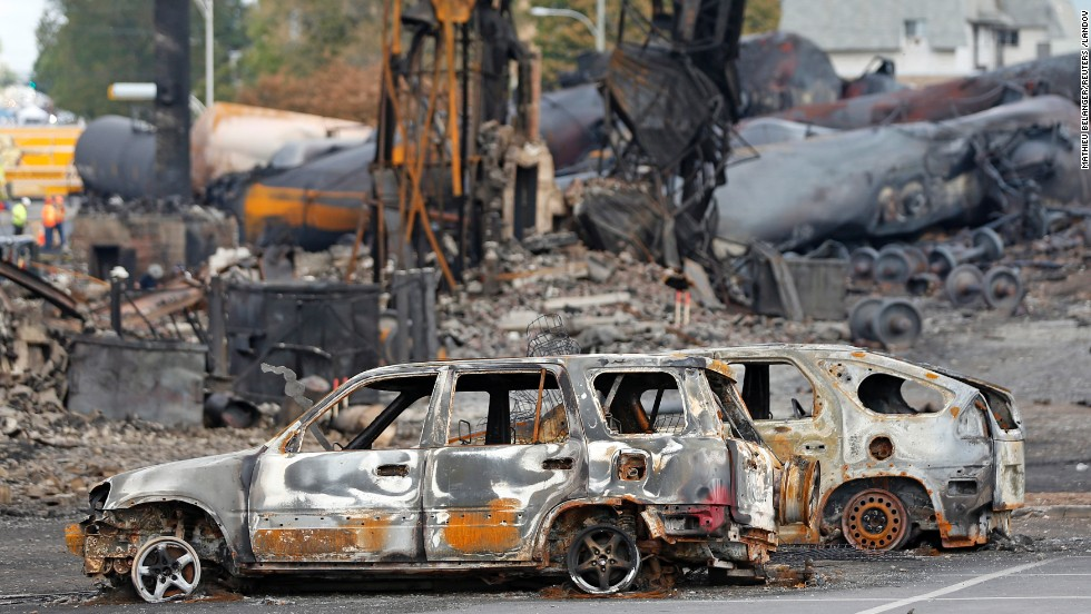 Train wreckage is pictured in Lac Megantic, Quebec, on July 9.