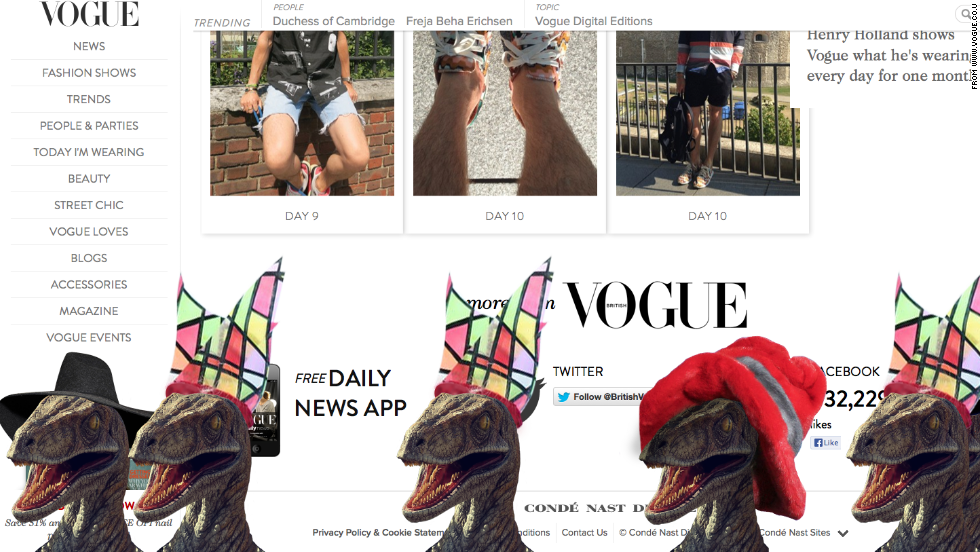 All it takes is a few keyboard strokes to produce this festive parade of dinosaurs on Vogue UK and other British editions of Conde Nast publications. Check out which other publications braved the dinosaur attack.