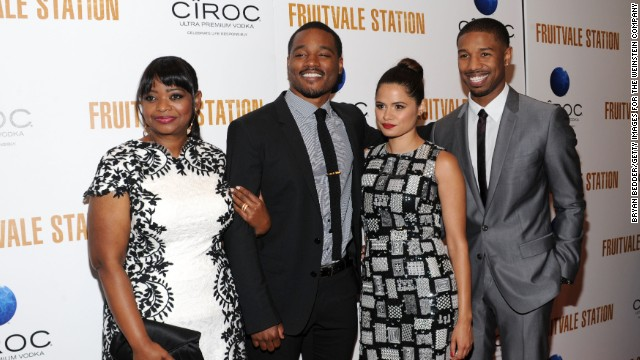 "From left, Octavia Spencer, Ryan Coogler, Melonie Diaz and Michael B. Jordan at the July 8 premiere of ""Fruitvale Station."""