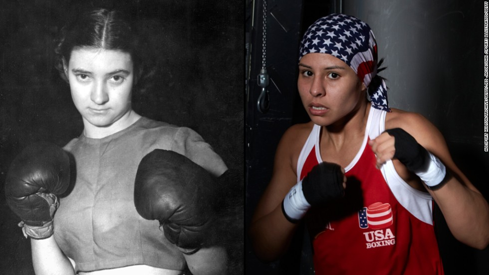"Barbara Buttrick, left, began boxing when she was 18 years old, in 1948. She was the first woman to have her boxing match broadcast, and she participated in carnivals and circuses before boxing internationally. Today, boxer <a href=""http://inamerica.blogs.cnn.com/2012/07/28/olympic-boxer-fights-to-inspire/"">Marlen Esparza</a>, right, has been a Covergirl and had endorsements. She was featured in <a href=""http://www.vogue.com/magazine/article/marlen-esparza-going-the-distance/#1"" target=""_blank"">Vogue magazine</a>, a <a href=""http://inamerica.blogs.cnn.com/2012/02/24/one-step-closer-to-her-olympic-dream/"">CNN documentary,</a> and<a href=""http://espn.go.com/espnw/news-commentary/article/9425070/boxer-marlen-esparza-takes-all-2013-body-issue-espn-magazine"" target=""_blank""> ESPN the Magazine's body issue</a>. ""The Olympics are a celebration of sports, and women should be able to celebrate sports just like men."" Due in part to greater acceptance of women and girls playing sports and Title IX, Esparza, and female boxing, made their debut last year at the 2012 Olympics."