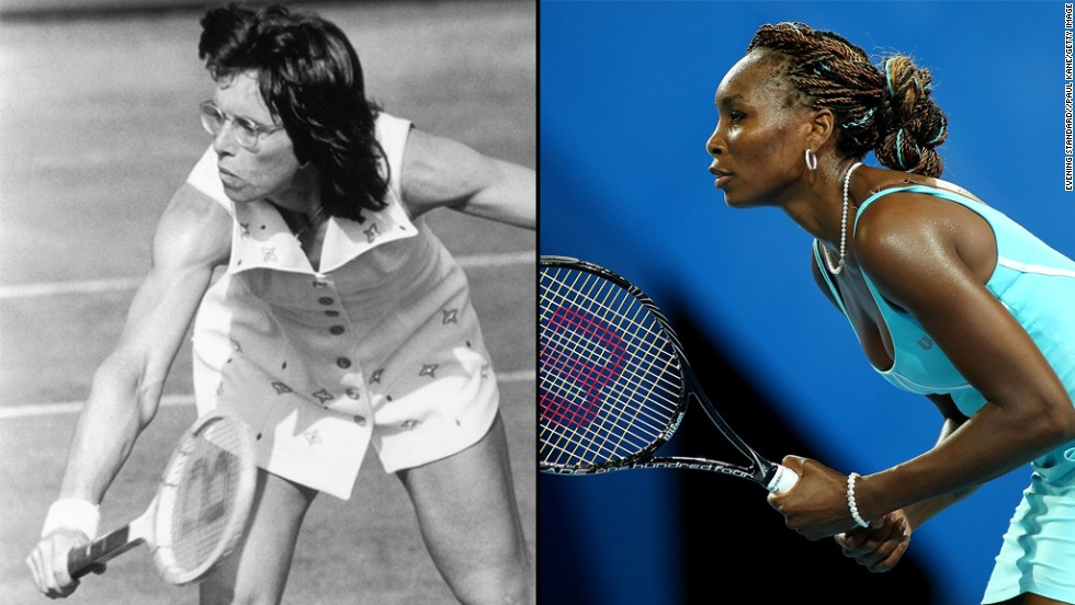 "When she was 12, American tennis player Billie Jean King knew she wanted  to <a href=""http://www.usatoday.com/story/sports/2013/05/22/billie-jean-king-icons-innovators-world-team-tennis-womens-rights/2159071/"" target=""_blank"">break records and barriers</a> in tennis. ""I wanted to be the No. 1 tennis player in the world, and I wanted to use my success to change the face of our society to grant equal rights and opportunities for both men and women."" Two years after Title IX, King created the Women's Sports Foundation. Throughout her career, she fought for equal pay in prize money for women. <a href=""http://espn.go.com/espnw/w-in-action/nine-for-ix/article/9441441/espnw-venus-williams-right-player-right-time-lead-pay-equality-charge?__hstc=223762052.3b51502f7fc949a1769c05227d5f61da.1371838142923.1371838142923.1373649439836.2&__hssc=223762052.1.1373649439836"" target=""_blank"">Inspired by King</a>, Venus Williams later <a href=""http://espn.go.com/espnw/w-in-action/nine-for-ix/article/9441441/espnw-venus-williams-right-player-right-time-lead-pay-equality-charge?__hstc=223762052.3b51502f7fc949a1769c05227d5f61da.1371838142923.1371838142923.1373649439836.2&__hssc=223762052.1.1373649439836"" target=""_blank"">picked up the torch, speaking out about the issue.</a> In 2007, due to their efforts,  Wimbledon female and male champions were paid an equal amount."