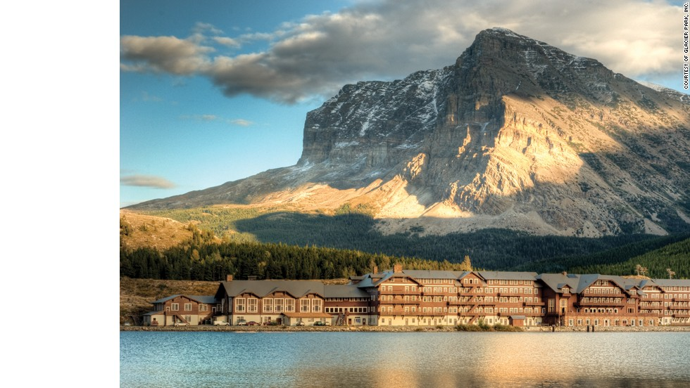 The Rocky Mountains surround Many Glacier Hotel in Montana's Glacier National Park.