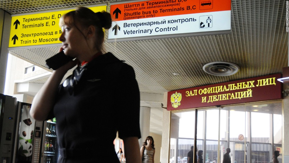 A Russian airline employee moves through Terminal F on July 6.