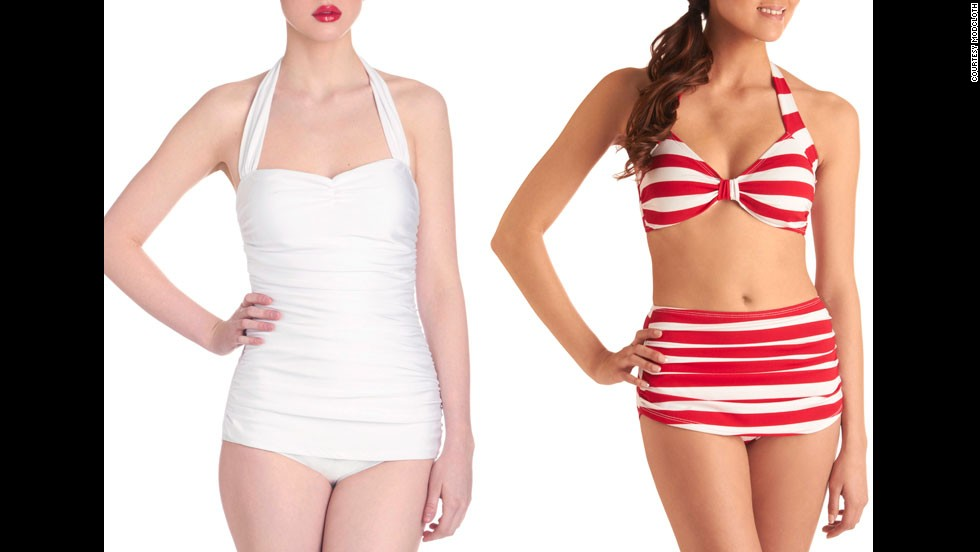 The retro trend in swimwear offers a lot of coverage, London said, and the halter, sweetheart necklines are flattering on most figures.