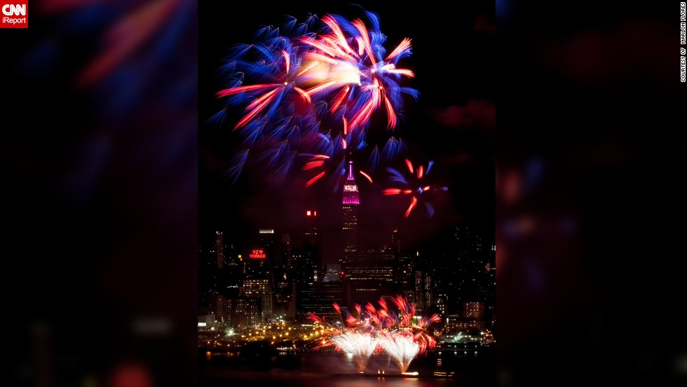 """Marlon Flores from Morganville, New Jersey, started shooting fireworks two years ago and he is now hooked. For this year's Fourth of July he was determined to get a super snap of Macy's firework display in New York City. """"<a href=""""http://ireport.cnn.com/docs/DOC-1000231"""" target=""""_blank"""">Empire State</a> is a nickname for New York and is generally thought of as an American history landmark. I thought that capturing the landmark during the Fourth of July fireworks is one way of seeing how great America is,"""" says the 39-year-old IT consultant."""