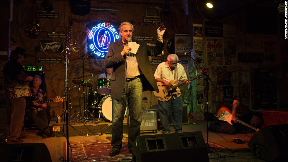 Lawyer Bill Luckett addresses customers at his Ground Zero Blues Club in downtown Clarksdale. Luckett recently won the city's mayoral race and has vowed to look into any allegations of corruption.