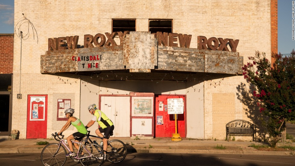 The New Roxy Theater, built in the 1940s, has seen better days and now teeters on the verge of collapse on Issaquena Avenue.