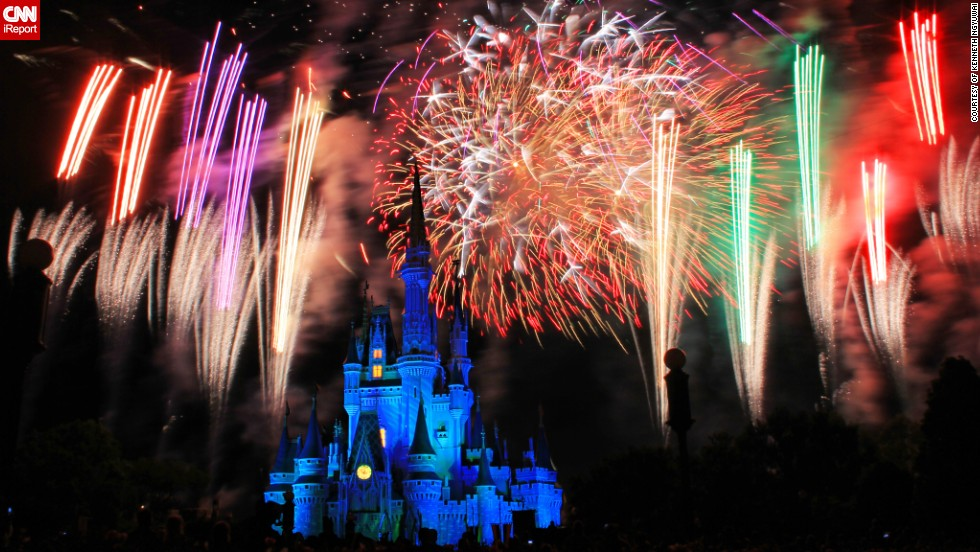 """This photo was taken on May 12, 2013 at <a href=""""http://ireport.cnn.com/docs/DOC-997473"""">Disney World's Magic Kingdom</a> at the daily fireworks show called the Wishes Nighttime Spectacular. """"The fireworks were well synchronized with the music being played in the background and was arranged in a manner that all visitors will get a good view with the castle as the backdrop,"""" says Kenneth Ngyuwai from Daytona Beach, Florida who captured the castle in all its glory."""