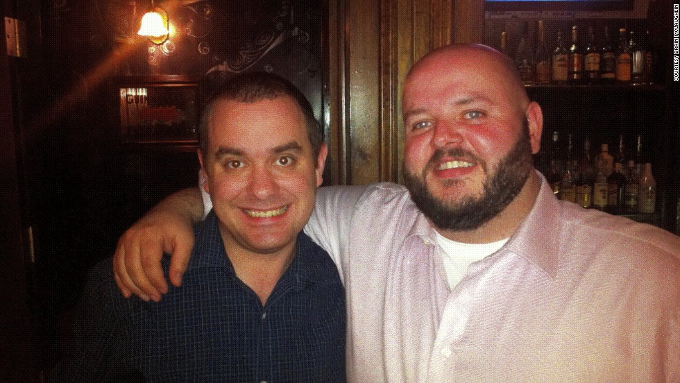 Drinking after work with his colleagues was one of Brian McLaughlin's few hobbies after moving to New York. This photo shows him, right, in April 2011 with co-worker Ciaran Kenedy at a local bar.