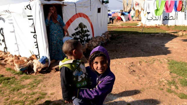 Refugee children in Lebanon's Bekaa Valley.