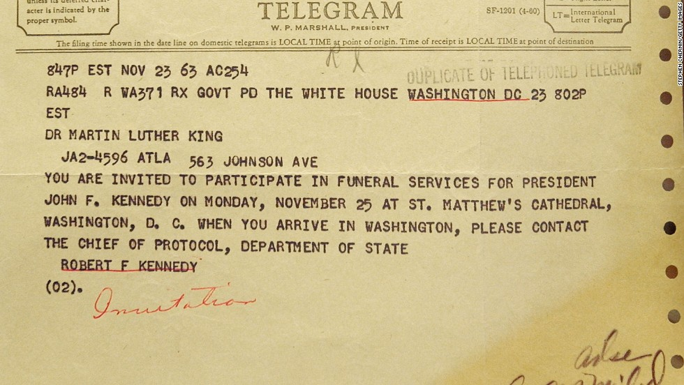 A telegram to Dr. Martin Luther King from Robert F. Kennedy invites King to attend the funeral services for President Kennedy and was on display at Sotheby's in New York City on August 28, 2003.