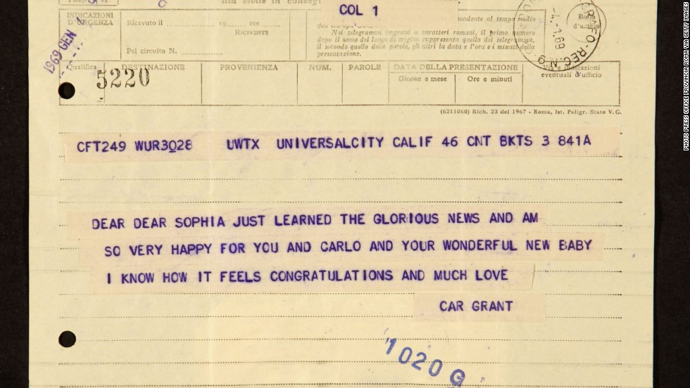 "A telegram sent by actor Cary Grant to the late Sophia Loren is on display at the exhibition ""Scicolone, Lazzaro, Loren"" dedicated to the career of the Italian actress, at the Vittoriano on April 6, 2006 in Rome, Italy."