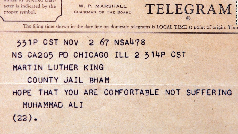 A telegram to a jailed Dr. Martin Luther King Jr. from boxer Muhammad Ali is displayed at Sotheby's auction house on June 21, 2006 in New York City. The collection included more than 10,000 manuscripts and books from the most active years of Dr. King's life, from 1946 to 1968.