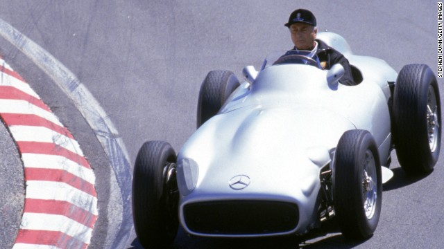 A car driven by Juan Manuel Fangio, seen here in 1991 four years before his death, was sold for nearly $30 million.