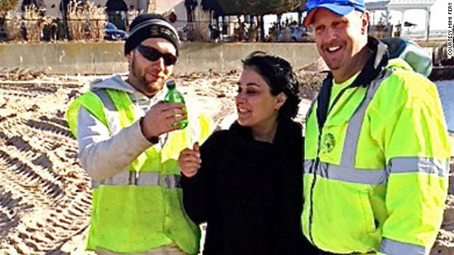 FEMA workers Garrett Rivers and Brian Waldron, who discovered the note in December, gave it to Sidonie's mother, Mimi.