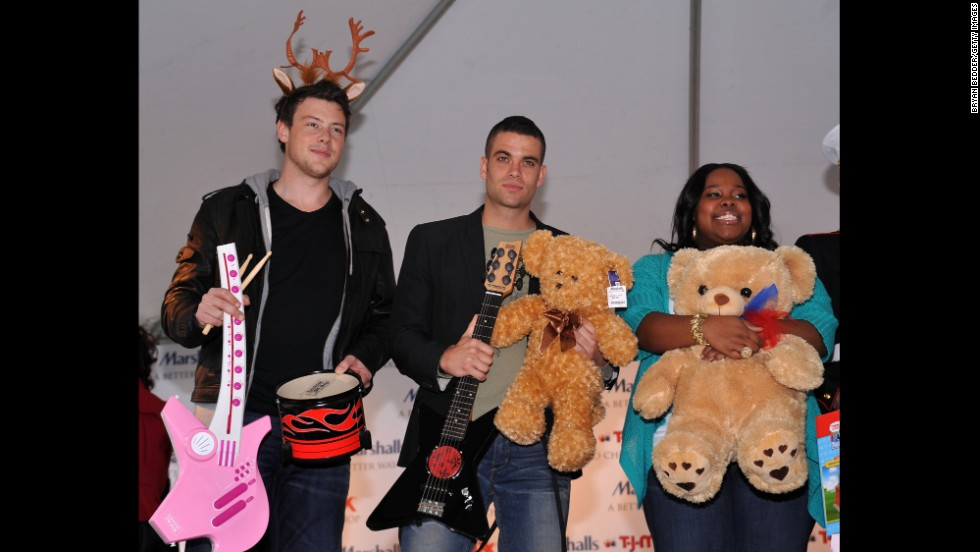 "Monteith, Mark Salling and Amber Riley attend the ""Carol-Oke"" contest at New York's Bryant Park on December 3, 2009."