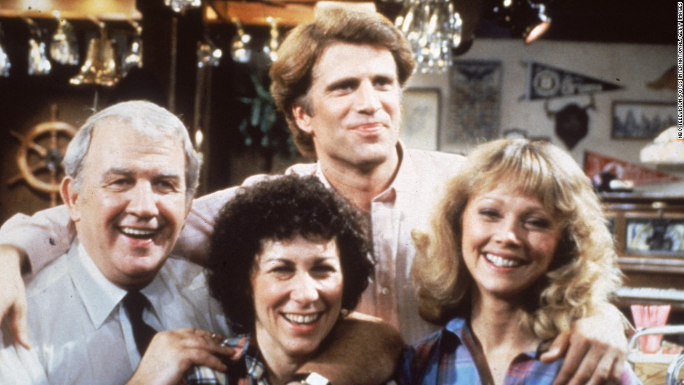 "Nicholas Colasanto (on the left) is seen here with his ""Cheers"" co-stars Rhea Perlman, Ted Danson and Shelley Long. His character of Coach Ernie Pantusso was written out of the show as having also died when the actor succumbed to a heart attack in 1985."