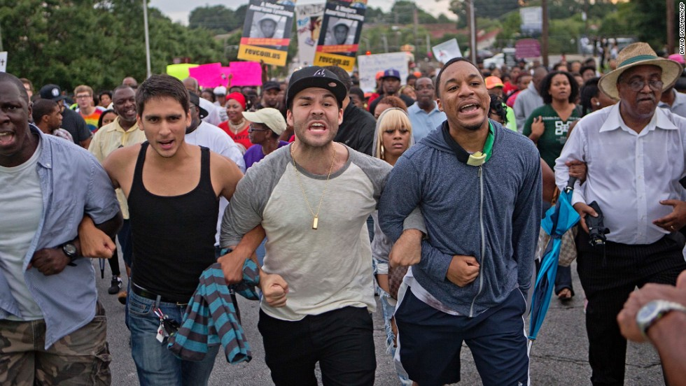 A large group of demonstrators march through downtown Atlanta on July 15 during a protest of the acquittal of George Zimmerman.