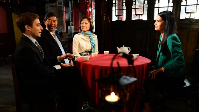 Guests (L-R) Evan Osnos, Wu Jianmin, and Jing Ulrich discuss the Chinese Dream with host Kristie Lu Stout.