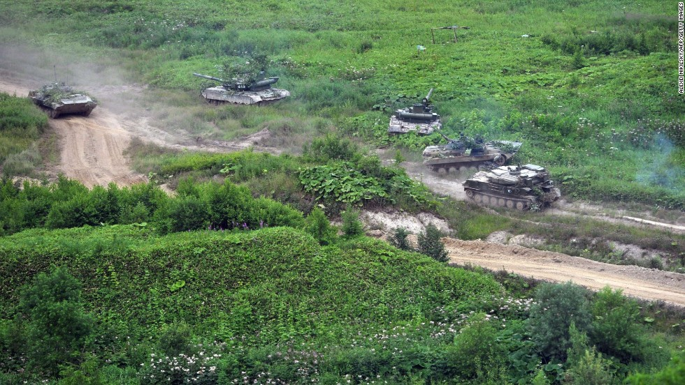 Russian tanks move across Sakhalin Island on July 16.