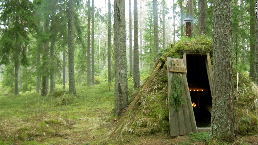 In Sweden, guests at the Kolarbyn eco-lodge can stay in forest huts.