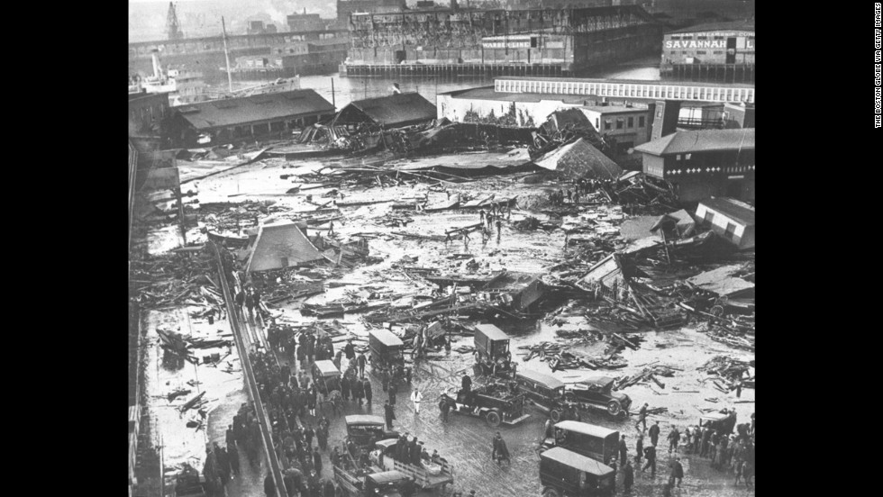 <strong>Boston Molasses Disaster: </strong>In January 1919, a tank containing 2.3 million gallons of molasses ruptured in Boston, causing a 15-foot high wall of molasses to pummel houses and leave 21 people dead and 150 injured.
