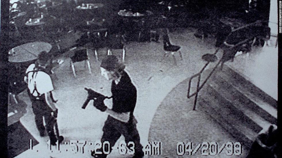 "Eric Harris, left, and Dylan Klebold entered <a href=""http://www.cnn.com/US/9904/20/school.shooting.03/index.html?iref=allsearch"" target=""_blank"">Columbine High School</a> in Littleton, Colorado, on April 20, 1999, armed with bombs and guns. The students killed 13 and wounded 23 before killing themselves."