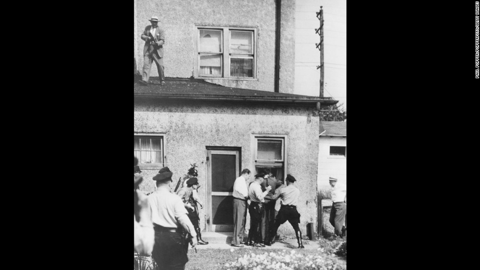Howard Unruh, a World War II veteran, shot and killed 13 of his neighbors in Camden, New Jersey, in 1949. Unruh barricaded himself in his house after the shooting. Police overpowered him the next day. He was ruled criminally insane and committed to a state mental institution.