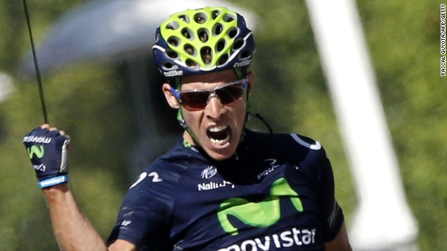 Rui Costa of the Movistar team wins the 16th stage of the Tour de France in Gap.
