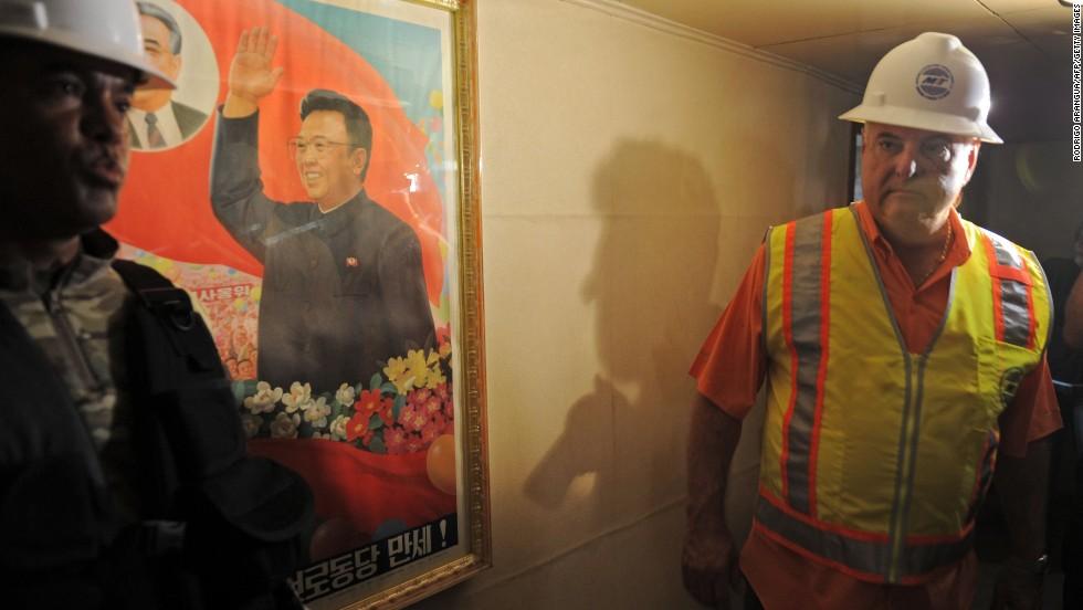 Panamanian President Ricardo Martinelli inspects the North Korean ship on July 16.