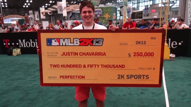 "Justin Chavarria, 21, of Eugene, Oregon, hurled a perfect game on ""MLB2K13"" to reach the finals."