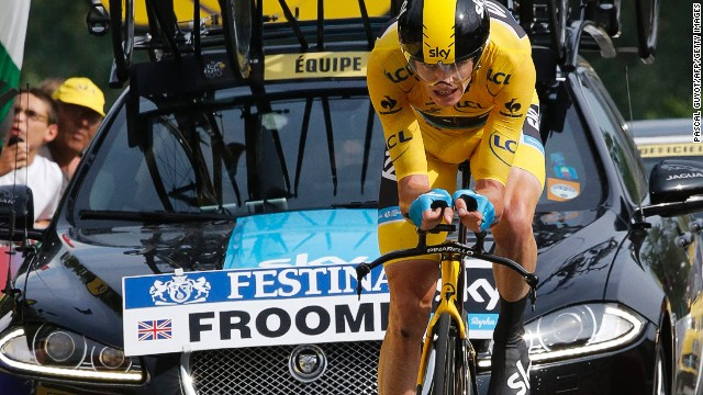 Chris Froome powers towards the finish line on stage 17 of the Tour de France.