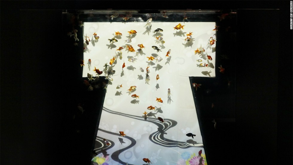 "Produced by Japanese ""art aquarist"" Hidetomo Kimura, the live installations retain traditional elements of Japanese culture such as the kimono."