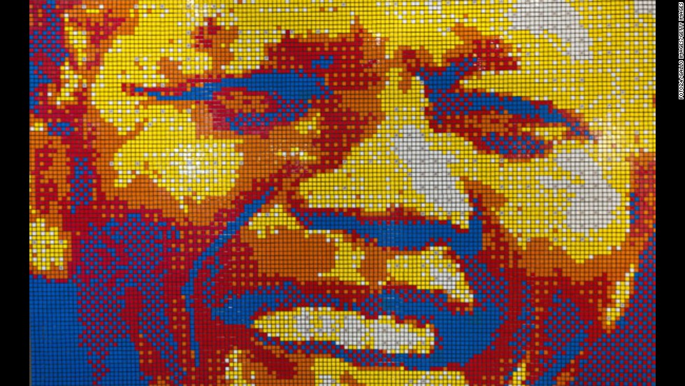 <strong>SOUTH AFRICA: </strong>A mosaic portrait of Mandela made entirely out of Rubik's cubes is on display at the entrance of the Mandela Rhodes Place Hotel & Spa in Cape Town. It was created by artist Jan Du Plessis.