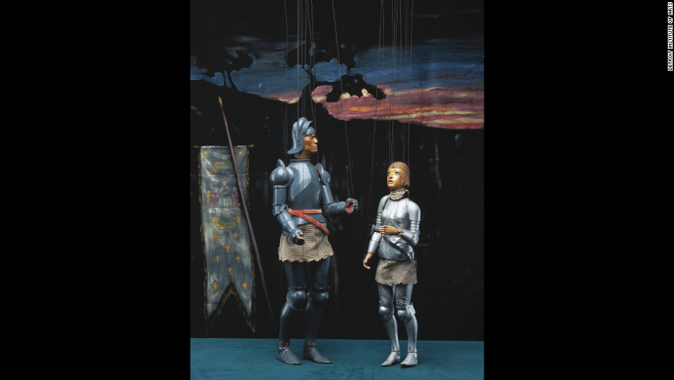These puppets, used to depict the story of Joan of Arc, were made by Martin T. Stevens and Olga Stevens, who donated them to the museum.