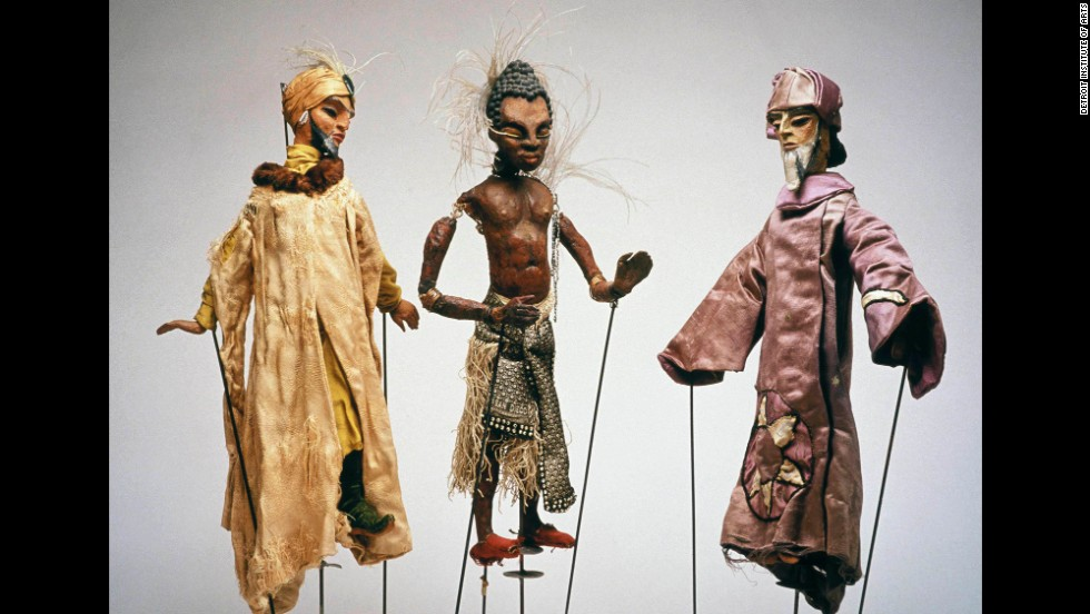 """The museum's puppetry collection was started in 1951 with the gift of Paul McPharlin's sizable collection of puppets and rare books.  According to the museum, McPharlin was considered by many to be the preeminent authority on puppetry during the first half of the 1900s and was a skilled puppet maker and performer. McPharlin's parents donated his collection to the museum after his death. Here you can see McPharlin's puppets """"The Three Kings."""""""