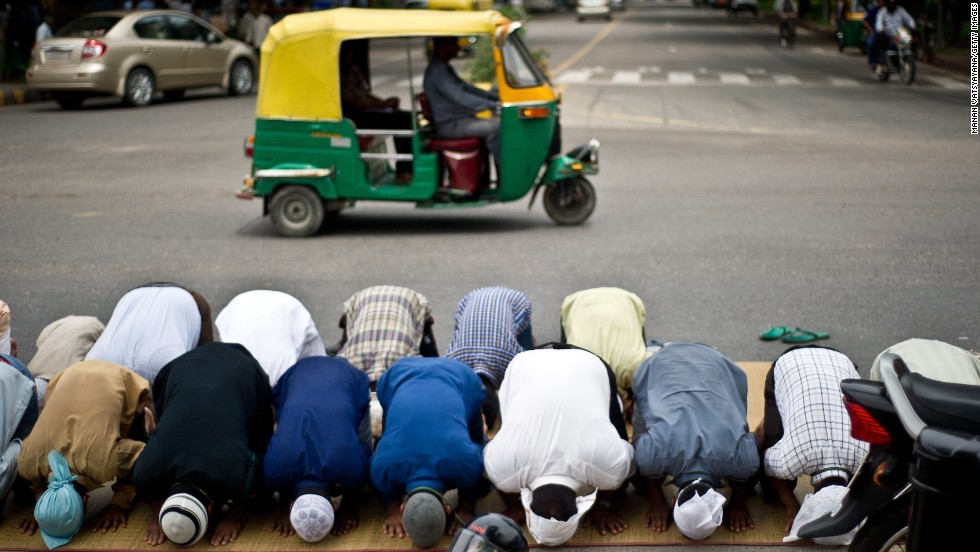 Muslims offer prayers in New Delhi on July 19.