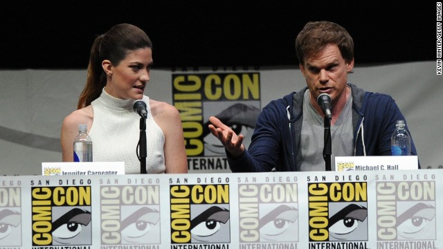 """Dexter"" stars Jennifer Carpenter and Michael C. Hall attend the show's final Comic-Con panel on July 18."