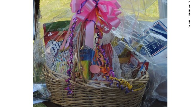 "Sarah Maizes took this photo of one of the ""massive"" gift baskets she saw on visiting day."
