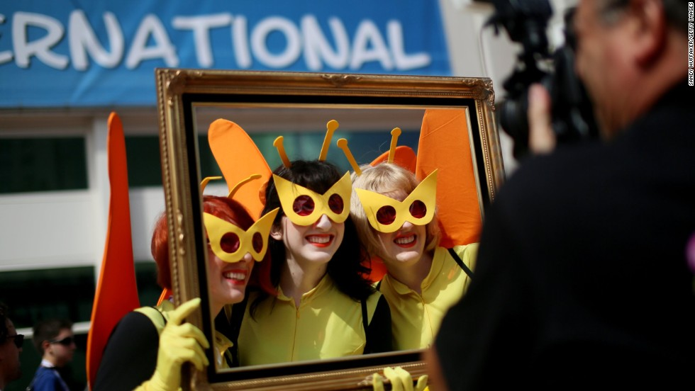 "Three women dressed as characters from Cartoon Networks ""Venture Bros."" pose for a photo on July 19."