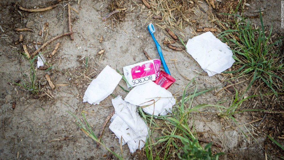Items left by illegal immigrants, near the border town of Mission, Texas.