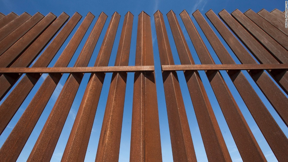 Part of the border fence in south Texas is made from 6-by-6-inch iron bars.